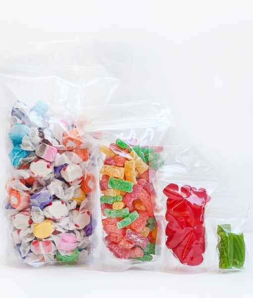 Clear edibles stand up pouches